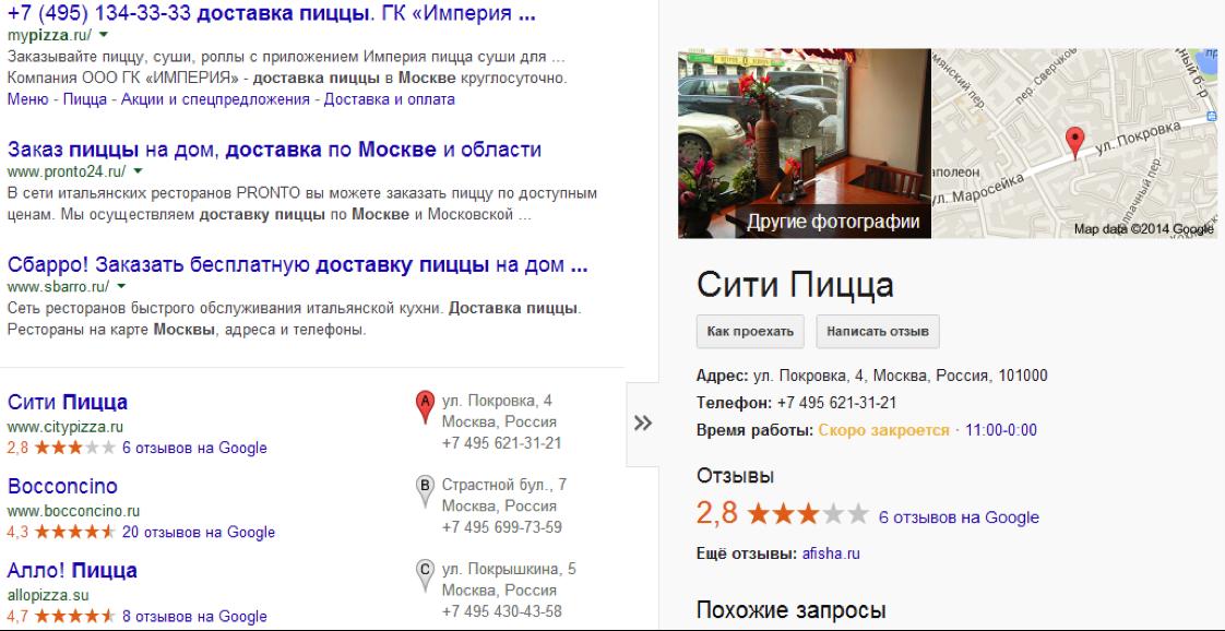 Пример выдачи в Google