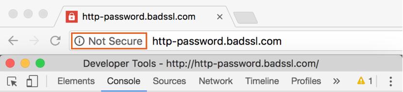 Рис. 2. Пометка небезопасного сайта в браузере Google Chrome.